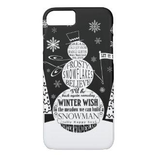 modern vintage chalkboard snowman typography art iPhone 7 case