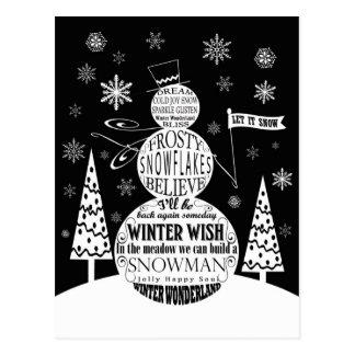 modern vintage chalkboard snowman typography art postcard