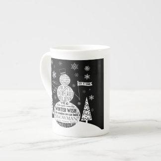 modern vintage chalkboard snowman typography art tea cup