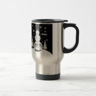 modern vintage chalkboard snowman typography art travel mug