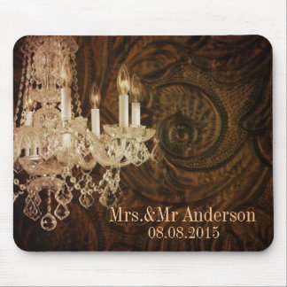 modern vintage chandelier wedding save the date mouse pad