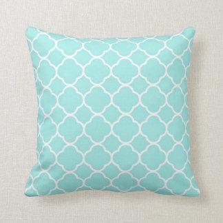 Modern Vintage Chic Teal Quatrefoil Pattern Pillow
