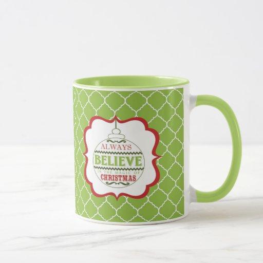 modern vintage Christmas ornament mug