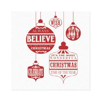 modern vintage Christmas ornaments Gallery Wrap Canvas