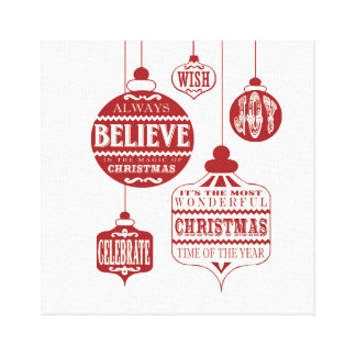 modern vintage Christmas ornaments Canvas Print