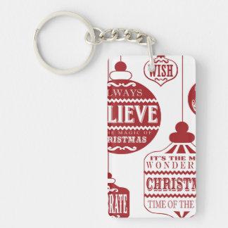 modern vintage Christmas ornaments Keychain