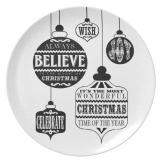 modern vintage Christmas ornaments Melamine Plate