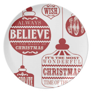 modern vintage Christmas ornaments Party Plate