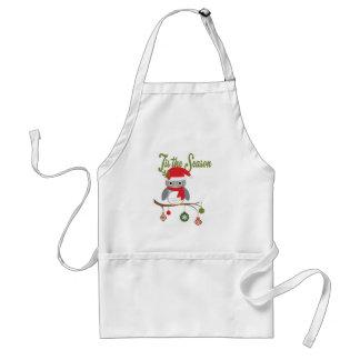 modern vintage christmas woodland owl adult apron