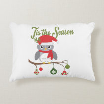 modern vintage christmas woodland owl decorative pillow