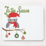modern vintage christmas woodland owl mouse pads