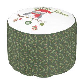 modern vintage christmas woodland owl pouf