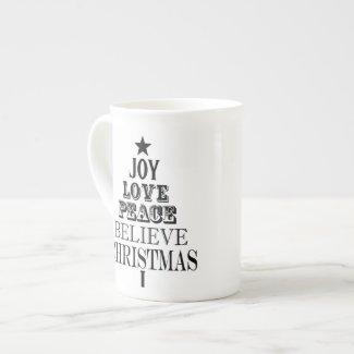 modern vintage christmas word tree porcelain mug