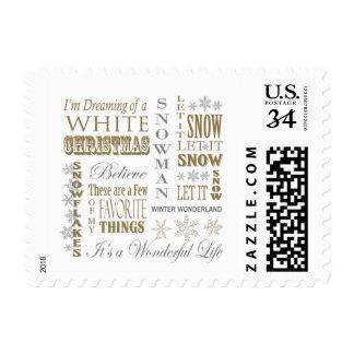 modern vintage christmas words postage stamps