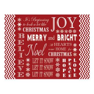 Christmas Words Postcards | Zazzle