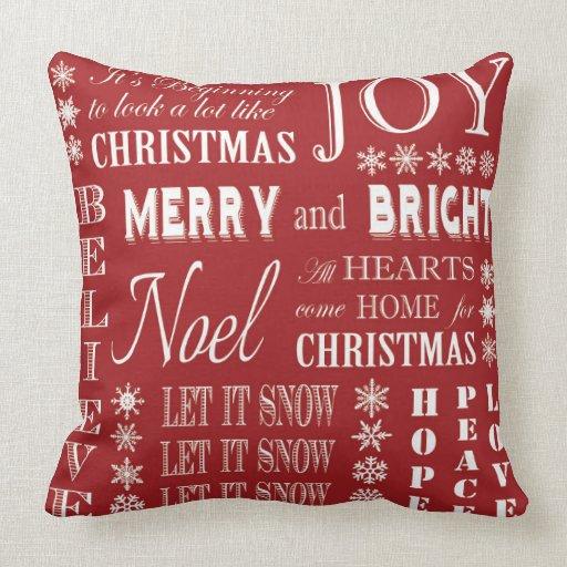 modern vintage Christmas words Throw Pillow Zazzle