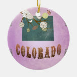 Modern Vintage Colorado State Map- Grape Purple Christmas Tree Ornaments