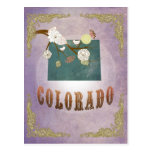 Modern Vintage Colorado State Map- Sweet Lavender Post Card