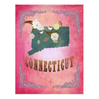 Modern Vintage Connecticut State Map- Candy Pink Postcard