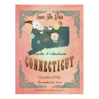 Modern Vintage Connecticut State Map- Pastel Peach Postcard