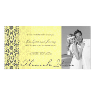 Modern Vintage Damask Lace Thank You Photo Card