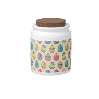 Modern Vintage Easter Eggs Decoration Pattern Candy Jar