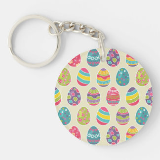 Modern Vintage Easter Eggs Decoration Pattern Double-Sided Round Acrylic Keychain