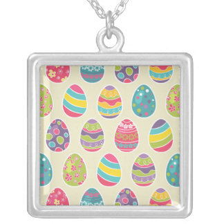 Modern Vintage Easter Eggs Decoration Pattern Square Pendant Necklace