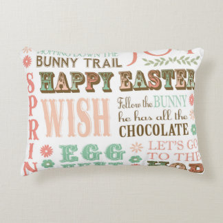 Modern Vintage Easter typography word collage Accent Pillow