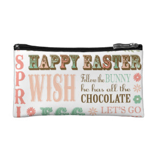 Modern Vintage Easter typography word collage Makeup Bags