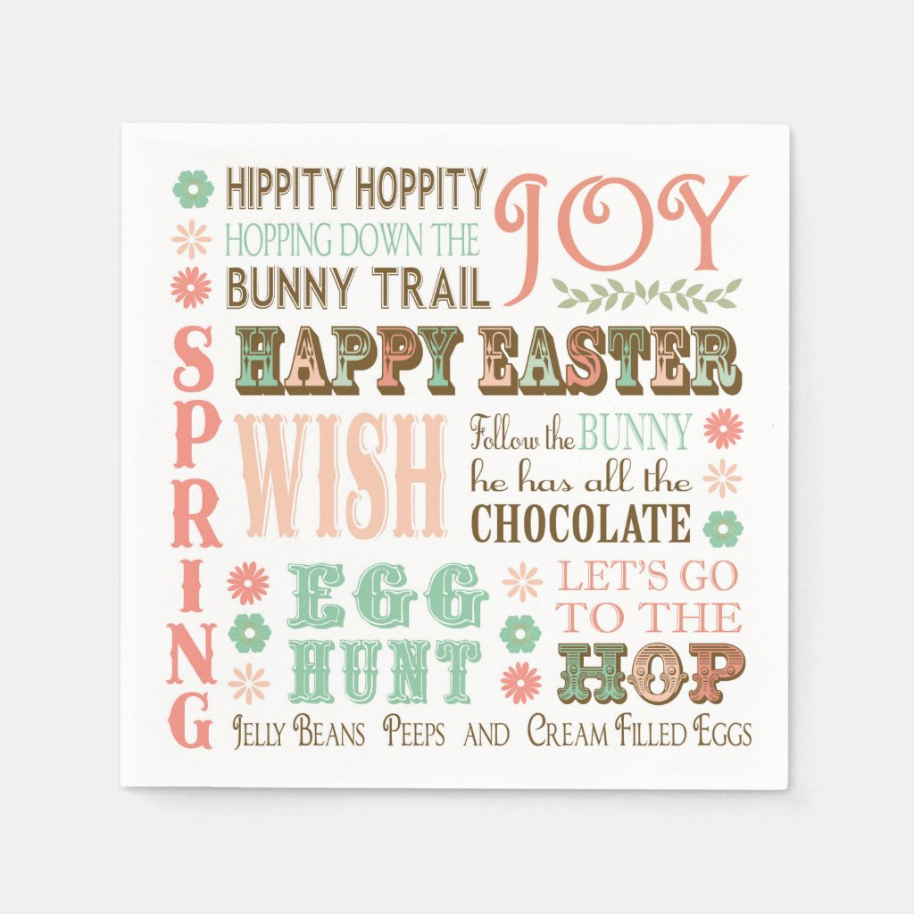 Modern Vintage Easter typography word collage Paper Napkin