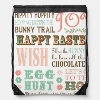 Modern Vintage Easter typography word collage Cinch Bag