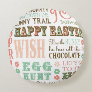 Modern Vintage Easter typography word collage Round Pillow