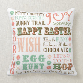 Modern Vintage Easter typography word collage Throw Pillow