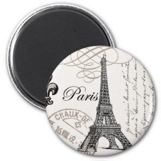 modern vintage Eiffel Tower 2 Inch Round Magnet