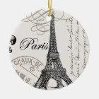 modern vintage Eiffel Tower Ceramic Ornament