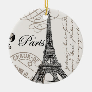 modern vintage Eiffel Tower Ceramic Ornament