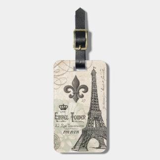 modern vintage eiffel tower luggage tag