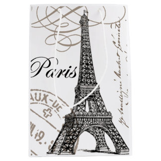 modern vintage Eiffel Tower Medium Gift Bag
