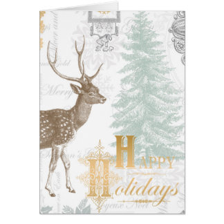 Modern Vintage Elegant winter woodland deer Card