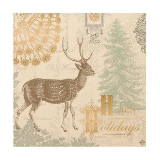 Modern Vintage Elegant winter woodland deer Wood Wall Art