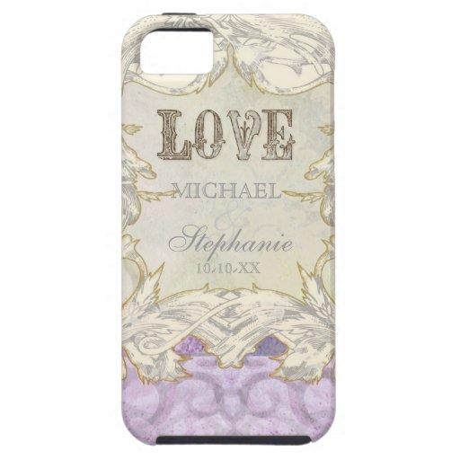 Modern Vintage Etching Swirl Flourish Love Wedding iPhone 5 Cases