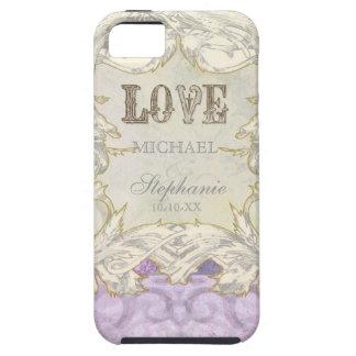 Modern Vintage Etching Swirl Flourish Love Wedding iPhone SE/5/5s Case