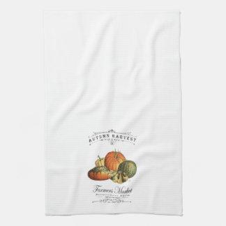 modern vintage fall gourds and pumpkin hand towel