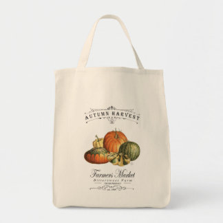 modern vintage fall gourds and pumpkin tote bag