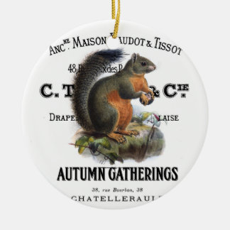modern vintage fall squirrel Double-Sided ceramic round christmas ornament