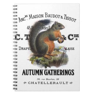 modern vintage fall squirrel spiral notebook