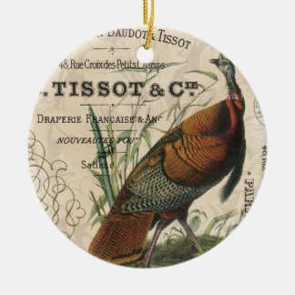 modern vintage fall wild turkey ceramic ornament
