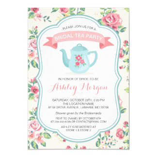 Modern Vintage Floral Bridal Shower Tea Party Card