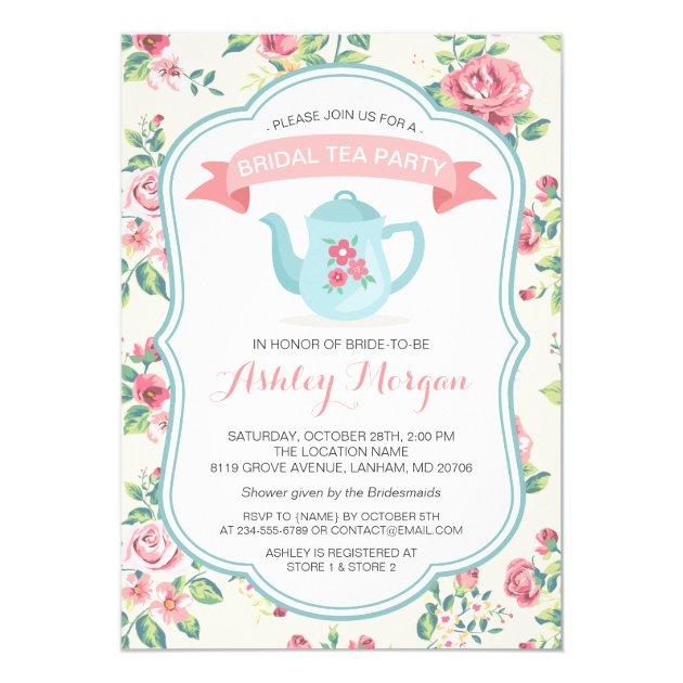 modern vintage floral bridal shower tea party card. Black Bedroom Furniture Sets. Home Design Ideas
